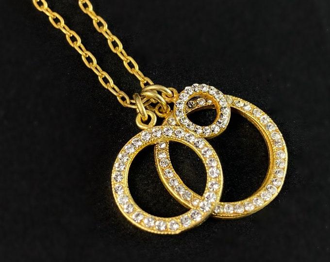 Gold Circle Swarovski Crystal Pendant Necklace - La Vie Parisienne by Catherine Popesco
