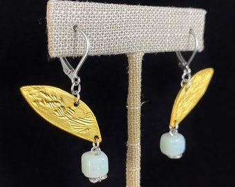Gold Leaf Earrings with Pale Green Bead - Handmade in Canada, Anne-Marie Chagnon Jewelry