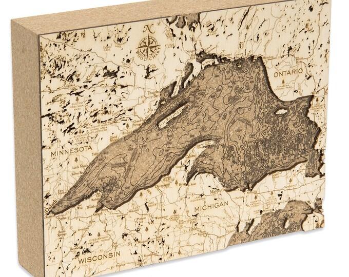 Cork Map of Lake Superior - Unique Home/Office Decor