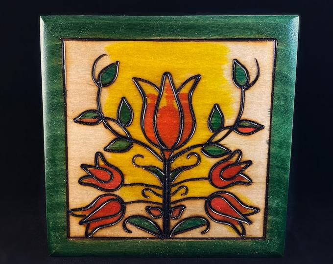 Red Flowers Handmade Hinged Square Green Wooden Treasure Box