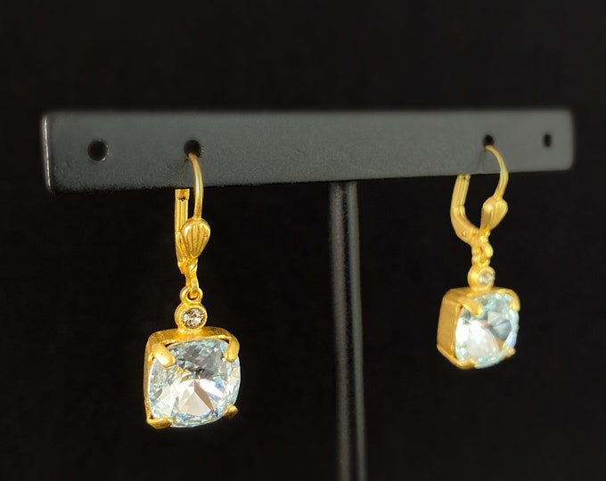 Light Blue Square Cut Swarovski Crystal Drop Earrings - La Vie Parisienne by Catherine Popesco