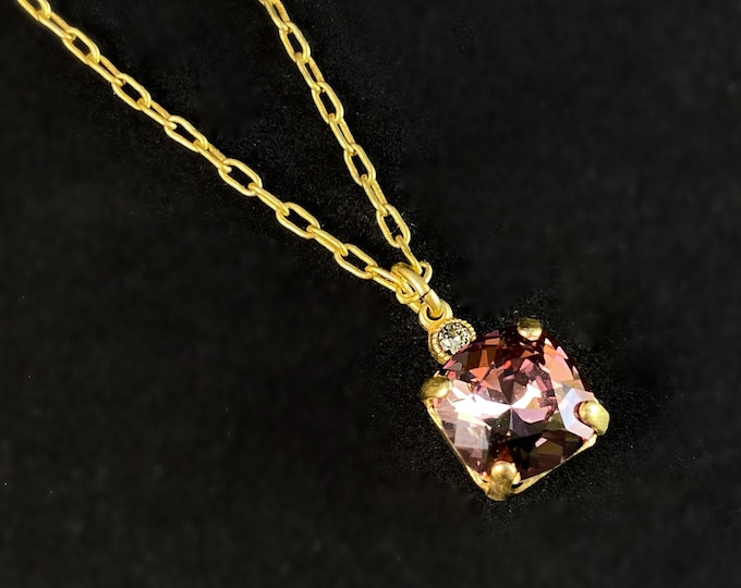 Pink Square Cut Swarovski Crystal Pendant Necklace - La Vie Parisienne by Catherine Popesco