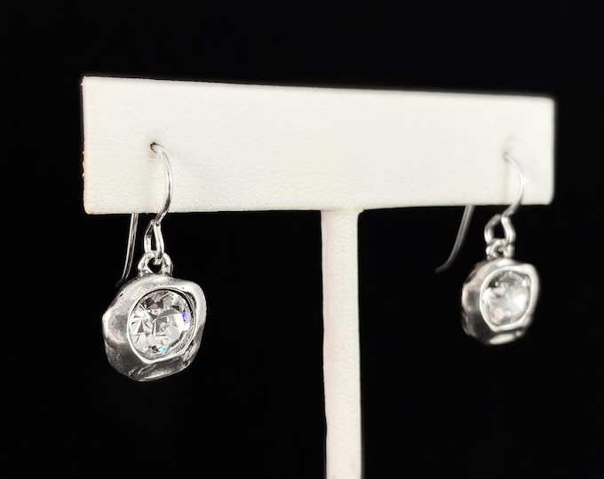 Handmade Silver Drop Earrings with Crystals, Made in USA