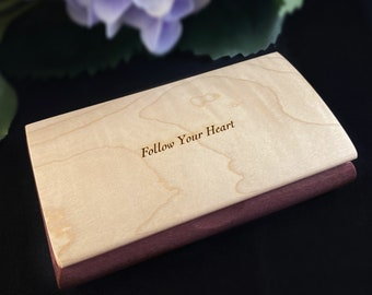 Follow Your Heart Quote Box from Mikutowski Woodworking Handmade Wooden Box with Curly Maple and Purpleheart