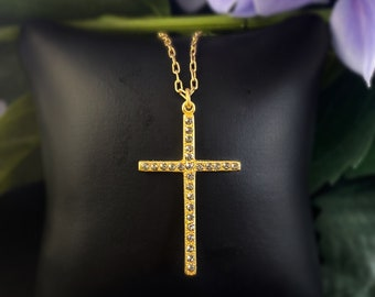 La Vie Parisienne by Catherine Popesco - Gold Cross Necklace with Swarovski crystals