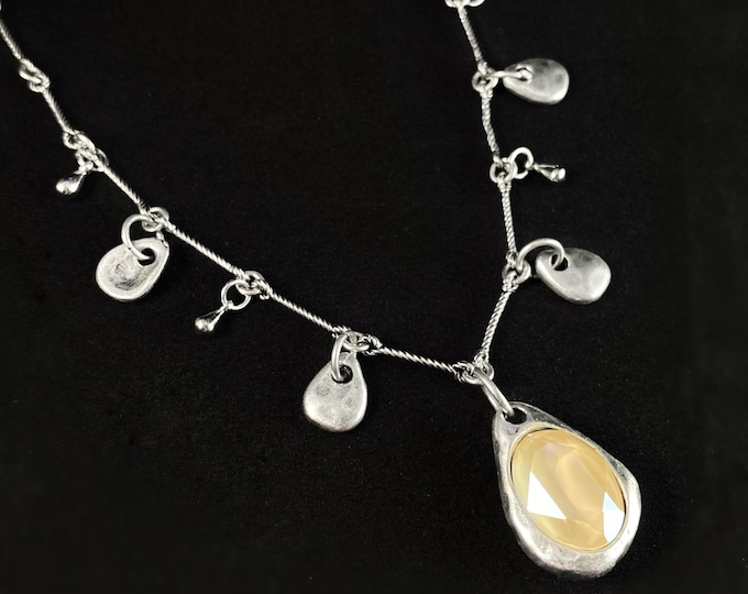 Silver Necklace with Crystal, Handmade Nickel Free