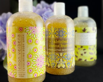 Exfoliating Body Wash, Made in USA - Lemon Verbena, Almond Cocoa Butter, Cucumber Olive Oil