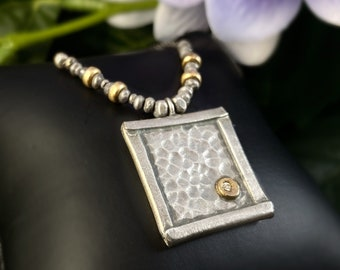J and I Handmade Square Mixed Metal Necklace with White Topaz