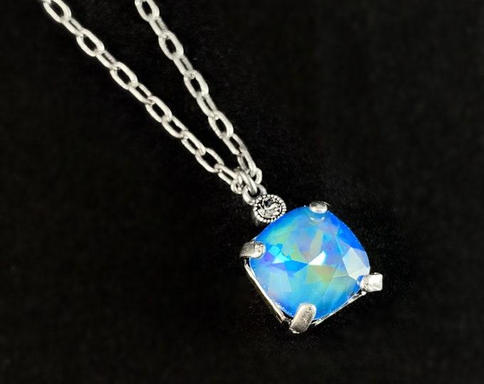 Blue Square Cut Swarovski Crystal Pendant Necklace - La Vie Parisienne by Catherine Popesco