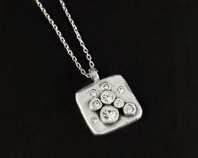 Handmade Silver Pendant Necklace with Crystals, Made in USA