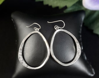 Rook and Crow Handmade Silver Large Oval Earrings with Crystals
