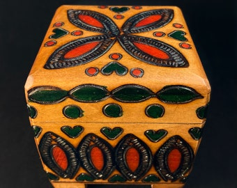 Green Hearts and Red Petals Handmade Hinged Wooden Treasure Box