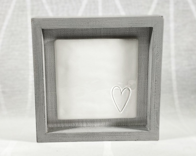 Small Heart, Glossy White Ceramic Decor for Wall/Tabletop, Neutral Minimal Style