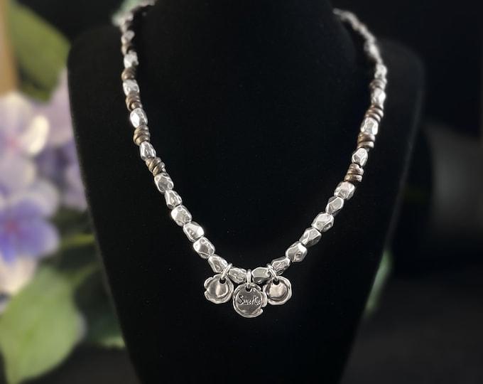"Silver Beaded Necklace with ""Suerte"" Charm - Uno de 50 Jewelry"
