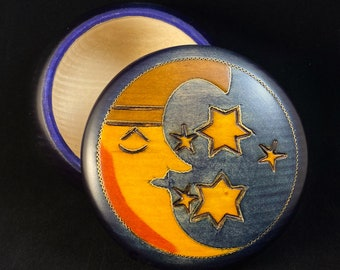 Stars and Crescent Moon Handmade Navy Blue Round Wooden Treasure Box