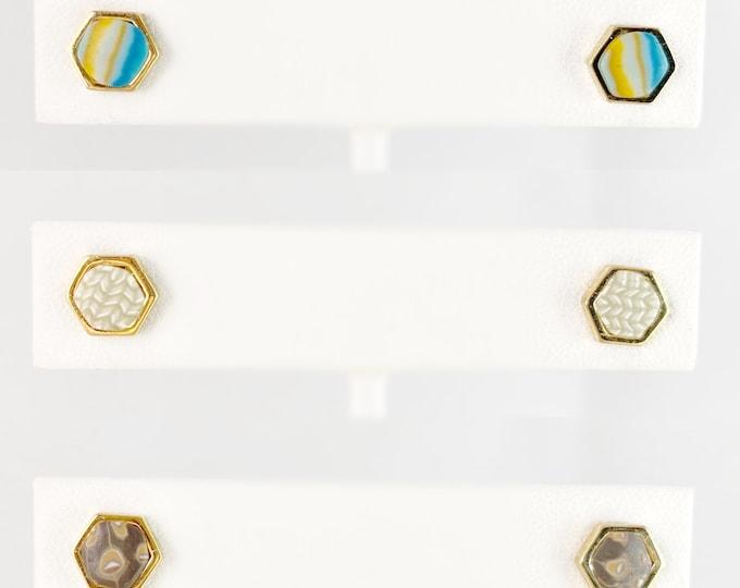 Polymer Clay Handmade Stud Earrings, Set of 3