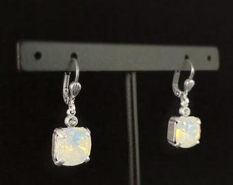 Milky Opal Square Cut Swarovski Crystal Drop Earrings - La Vie Parisienne by Catherine Popesco