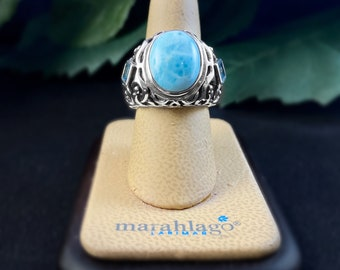 Marahlago Larimar and Sterling Silver Messina Ring size 8