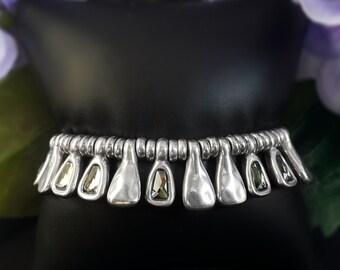 Silver Beaded Bracelet with Gray Swarovski Crystals - Uno de 50 Jewelry