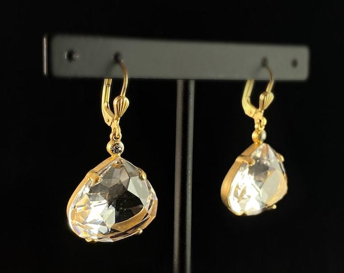 Pear Cut Swarovski Crystal Drop Earrings, Clear - La Vie Parisienne by Catherine Popesco