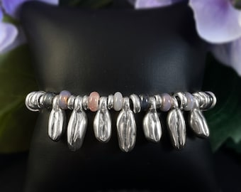 Silver Bracelet with Purple and Pink Glass Beads - Uno de 50 Jewelry