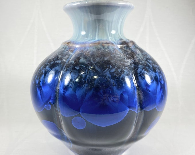 Large Blue and Black Handmade Vase - Handcrafted in the USA, Bill Campbell Pottery