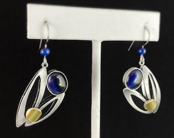 Lightweight Handmade Geometric Aluminum Earrings, Silver and Blue