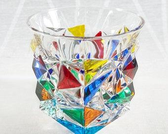 Venetian Glass Tumbler - Handmade in Italy, Colorful Murano Glass