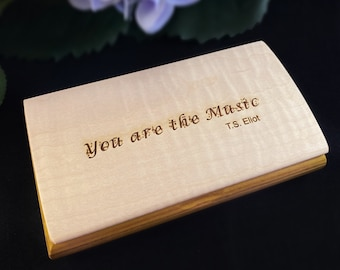 You Are the Music Quote Box from Mikutowski Woodworking Handmade Wooden Box with Canary Wood and Curly Maple