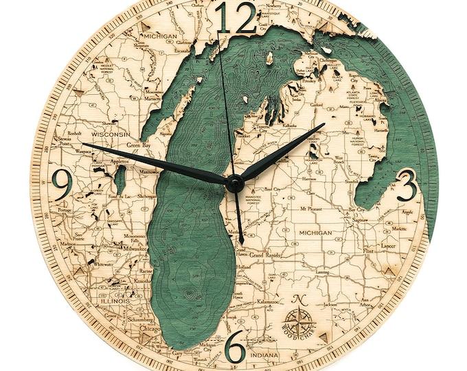 Lake Michigan 2 Dimensional Wooden Wall Clock - 12 inch Diameter