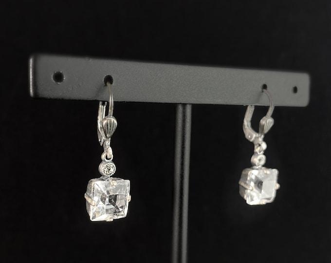 Square Cut Swarovski Crystal Drop Earrings, Clear - La Vie Parisienne by Catherine Popesco
