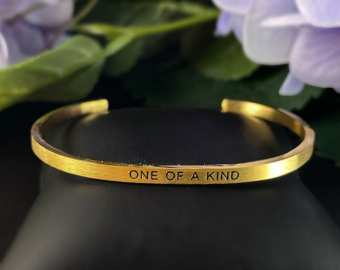 """Skinny Cuff Quote Bracelet, Gold Stacking Bracelet - """"One of a Kind"""""""