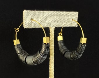 Black Beaded Hoop Earrings - 18kt Gold Over Brass with Vulcanite and Black Agate, David Aubrey Jewelry