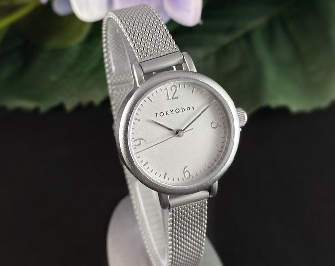 Women's Watch, Skinny Silver Mesh Band - TOKYObay