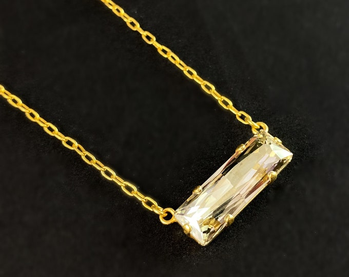 Clear Rectangle Cut Swarovski Crystal Pendant Necklace - La Vie Parisienne by Catherine Popesco