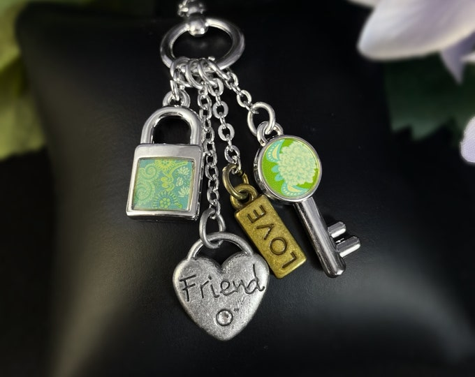 Friend Heart Charm Pendant Necklace - Gift for Friend