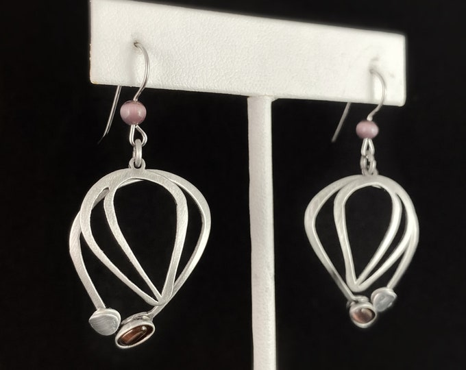 Lightweight Handmade Geometric Aluminum Earrings, Silver and Purple