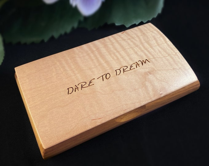 Dare to Dream Quote Box, Handmade Wooden Box with Curly Maple and Canary Wood, Made in USA