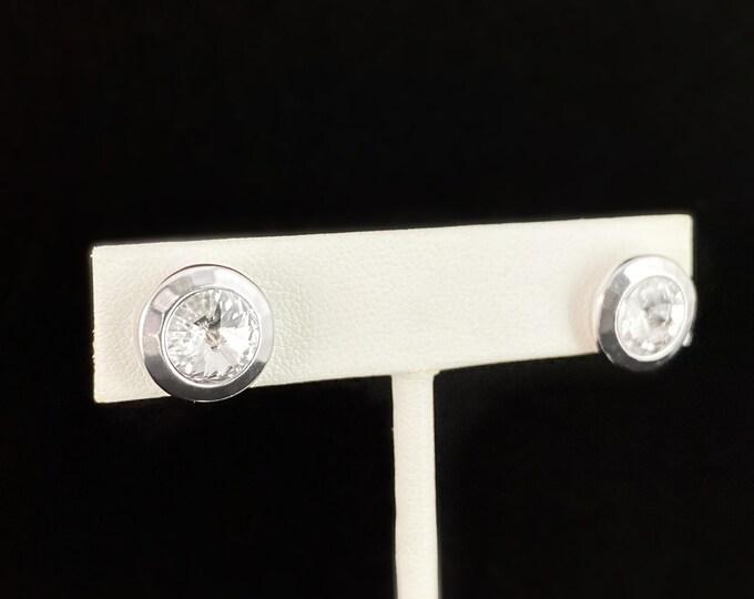 Round Silver Stud Earrings with Crystal, Handmade Nickel Free