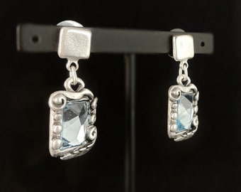 Silver Drop Earrings with Blue Crystal, Handmade