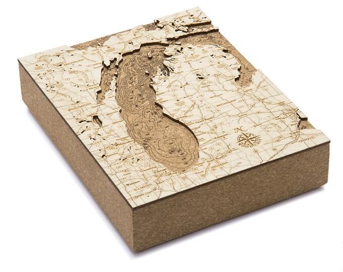Cork Map of Lake Michigan - Unique Home/Office Decor