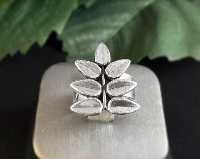Handmade Silver Adjustable Leaf Ring - Nickel Free Ulla Jewelry