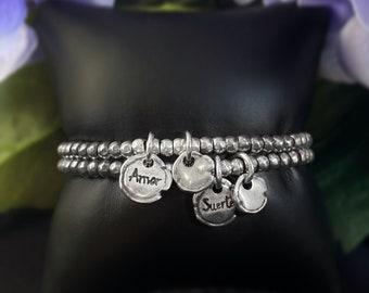 "Silver Beaded Bracelet with ""Amor"" or ""Suerte"" Charm - Uno de 50 Jewelry"