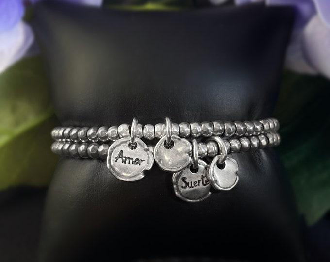 """Featured listing image: Silver Beaded Bracelet with """"Amor"""" or """"Suerte"""" Charm - Uno de 50 Jewelry"""