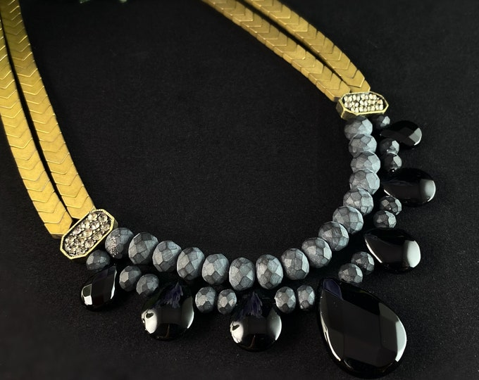 Black and Gold Geometric Art Deco Style Necklace - Hematite and Black Agate