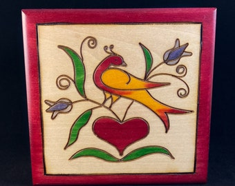 Bird, Flowers, and Heart Handmade Hinged Square Red Wooden Treasure Box