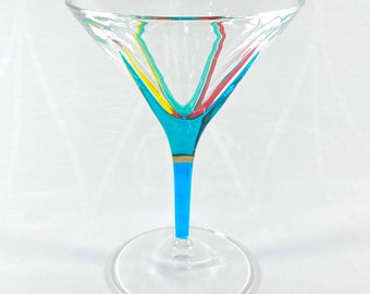 Venetian Glass Martini Glass - Handmade in Italy, Colorful Murano Glass, Multiple Styles
