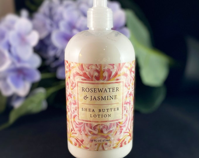 Shea Butter Lotion, Made in USA - Lemon Verbena, Almond Cocoa Butter, Cucumber Olive Oil, Rosewater Jasmine