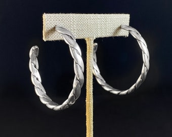 Chunky Silver Hoop Earrings - Handmade Nickel Free Ulla Jewelry