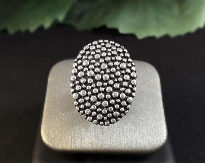 Handmade Silver Adjustable Oval Ring - Nickel Free Ulla Jewelry